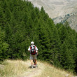 Hiker in mountain — Stock Photo
