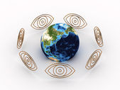 All Seeing Eyes around earth. 3D — Stock Photo