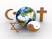 Símbolos religiosos do nosso planeta. imagem 3d — Foto Stock
