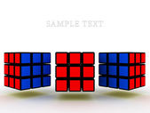 Three Rubik's cube on a white background. 3D — Foto de Stock