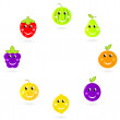 Fruit mascots / characters in circle isolated on white — Stock Vector