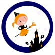 Halloween castle with Witch Girl flying around Moon — Stock Vector #6809591