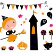 Stock Vector: Halloween Witch Girl & items, icons and design elements