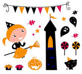 Halloween Witch Girl & items, icons and design elements — 图库矢量图片