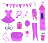 Cute icons for little princess Party. — Stock Vector