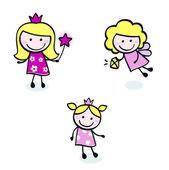 Cute doodle Princess & Fairy stitch figures set. — Stock Vector