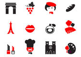 Retro Paris Culture, French Culture & Cuisine icons set - red, — Stock Vector
