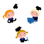 Cute graduation Kids collection isolated on white — Stock Vector