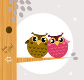 Two cute owl friends sitting on the branch — Stock Vector