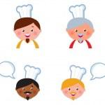 hübsch Chef Heads Icons Sammlung isoliert auf weiss — Stockvektor