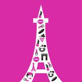 レトロなパリ エッフェル タワー シルエット アイコン. — ストックベクタ