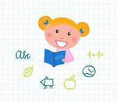 Livrinho fofo criança de leitura, elementos da escola. — Vetor de Stock