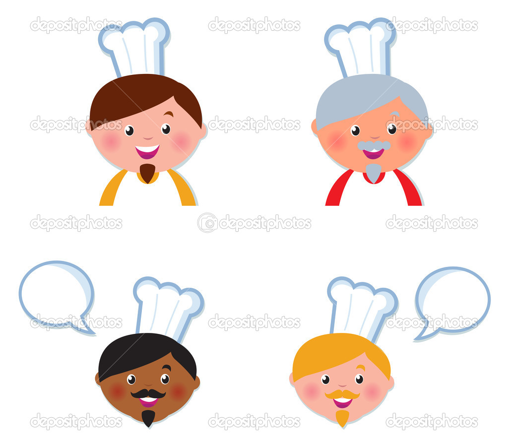 Chef heads set isolated on white. Vector cartoon Illustration. — Stock Vector #6890318