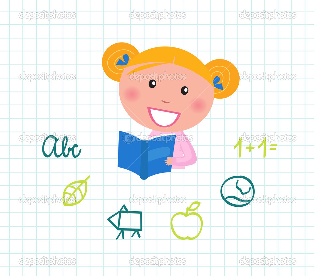 Cute little reading School Girl with Book. Vector Illustration.  Stock Vector #6890357