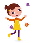 Cute running Child with Autumn Leaves isolated on white — Stock Vector