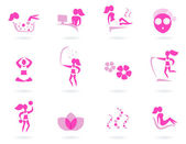 Pink spa, wellness & sport female icons isolated on white — Stock Vector