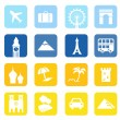 Travel icons and landmarks big collection - blue & yellow — Stok Vektör