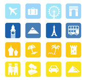 Travel icons and landmarks big collection - blue & yellow — Stock Vector