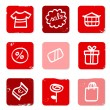 Retro Sale and shopping icons for eshop. Red. White. — Stock Vector