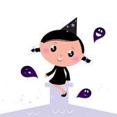 Schattige kleine halloween heks met geesten. — Stockvector