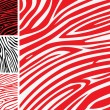 Red and white zebra skin - animal print or pattern collection - Stock Vector