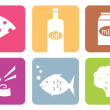 Colorful food modern icons or elements set . - Stock Vector