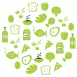Green abstract globe with food icons ( green ) — Stock Vector