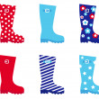 Fresh & colorful rubber wellington boots. - Stockvectorbeeld