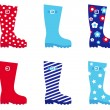 Fresh & colorful rubber wellington boots. - Stock Vector