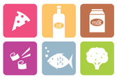 Colorful food modern icons or elements set . — Stock Vector