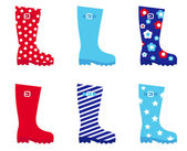 Fresh & colorful rubber wellington boots. — Stock Vector