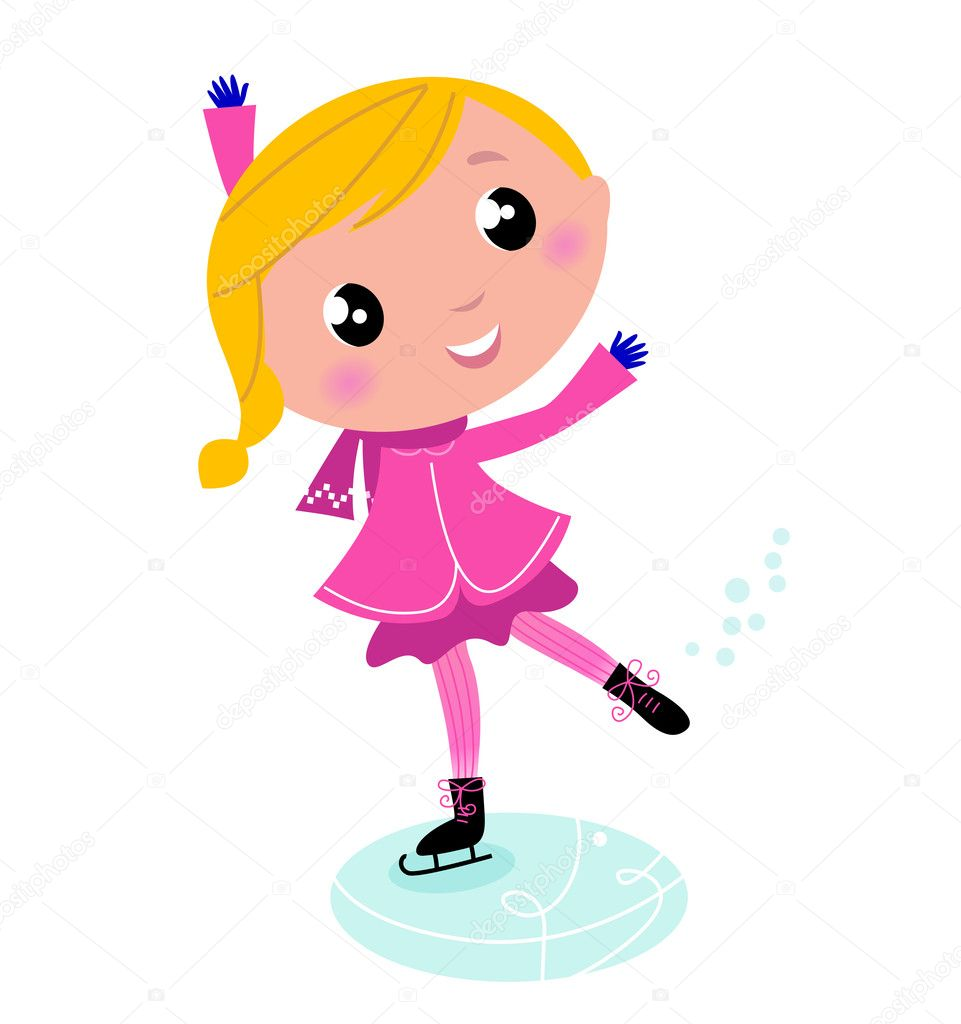 Figure skating Girl in pink costume. Vector cartoon Illustration — Stock Vector #7143665