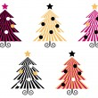 Retro Christmas Trees collection isolate on white - Stock Vector