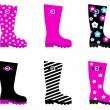 Fresh & colorful rain wellies boots isolated on white - Stockvectorbeeld