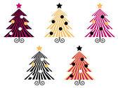 Rétro collection d'arbres de Noël isoler sur blanc — Vecteur