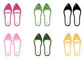 Collection de vector de vector retro chaussures isolé sur blanc — Vecteur