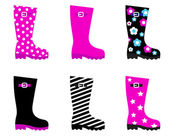 Fresh & colorful rain wellies boots isolated on white — Stock Vector