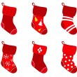 Red retro Christmas Socks collection isolate on white — Stock Vector #7241776