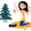 Happy Woman preparing Christmas Tree. — Stock Vector