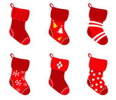 Red retro Christmas Socks collection isolate on white — Stock Vector