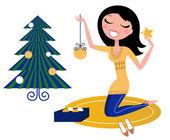 Glad kvinna förbereder julgran. — Stockvektor