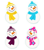 Cute colorful vector snowmen collection isolated on white — Stock Vector