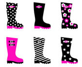 Wellington rain boots isolated on white ( pink & black ) — Vector de stock