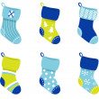 Blue retro Christmas Socks collection isolate on white — Векторная иллюстрация