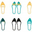 Retro Shoes collection isolated on white ( yellow & blue ) - Stock Vector