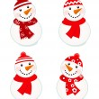 Cute vector snowmen collection isolated on white ( red ) - Stock Vector
