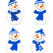 Cute vector snowmen collection isolated on white ( blue ) - Stock Vector