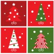 Winter Christmas Trees retro blocks collection. — Stock Vector