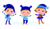 Cute winter kids group isolated on white — Stock Vector