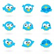Cute blue vector Twitter Birds icons collection isolated on whit - Stock Vector